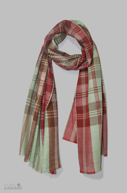 Sea Green, Red and Brown Handwoven Cashmere Pashmina Shawl