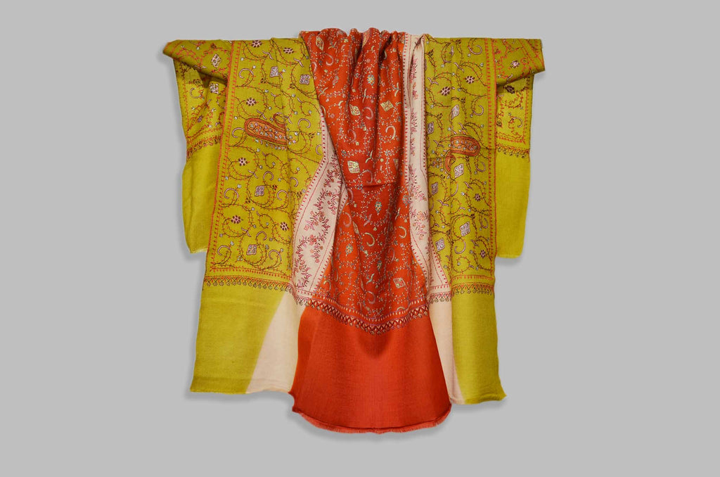 Shop for triple dye merino sozni embroidery shawls | Made in Kashmir