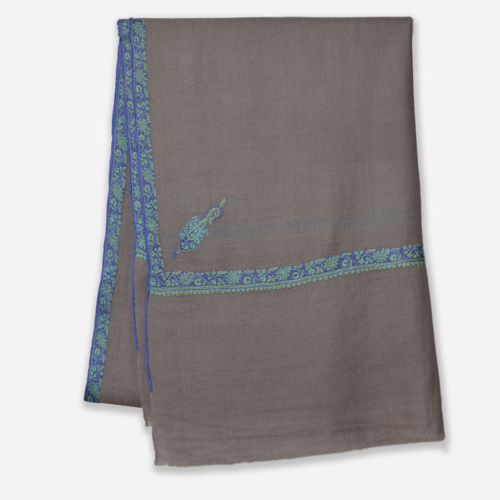 Un Dyed Taupe Border Embroidery Pashmina Cashmere Scarf