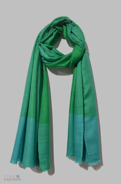 Green and Turquoise Check Cashmere Travel Wrap