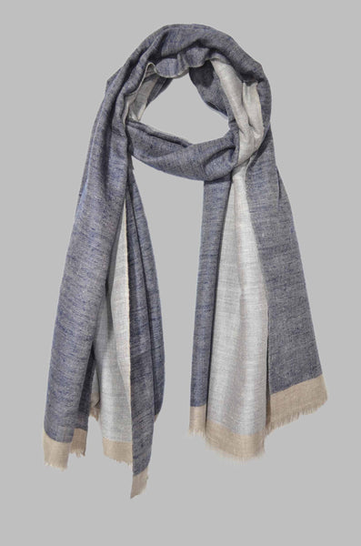 Reversible Navy Blue and Natural Handwoven Cashmere Pashmina Shawl