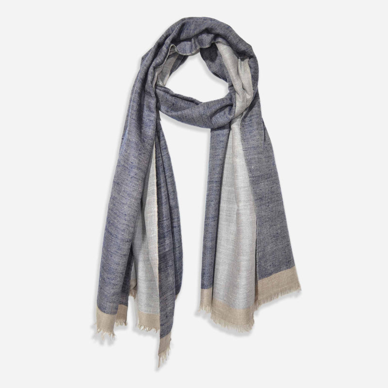 Reversible Dark Navy and Grey Cashmere Pashmina Handwoven Shawl