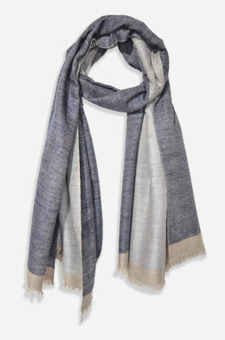 dd80c8a92d43d Reversible Navy Blue and Natural Handwoven Cashmere Pashmina Shawl