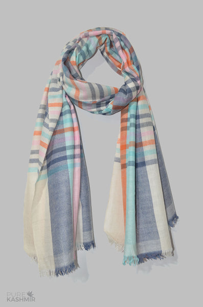 Beautiful Pastel Color Handwoven Cashmere Pashmina Shawl
