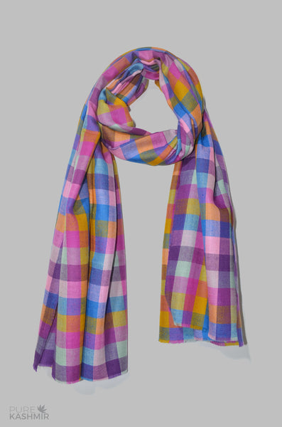 Multi Color Check Cashmere Travel Wrap