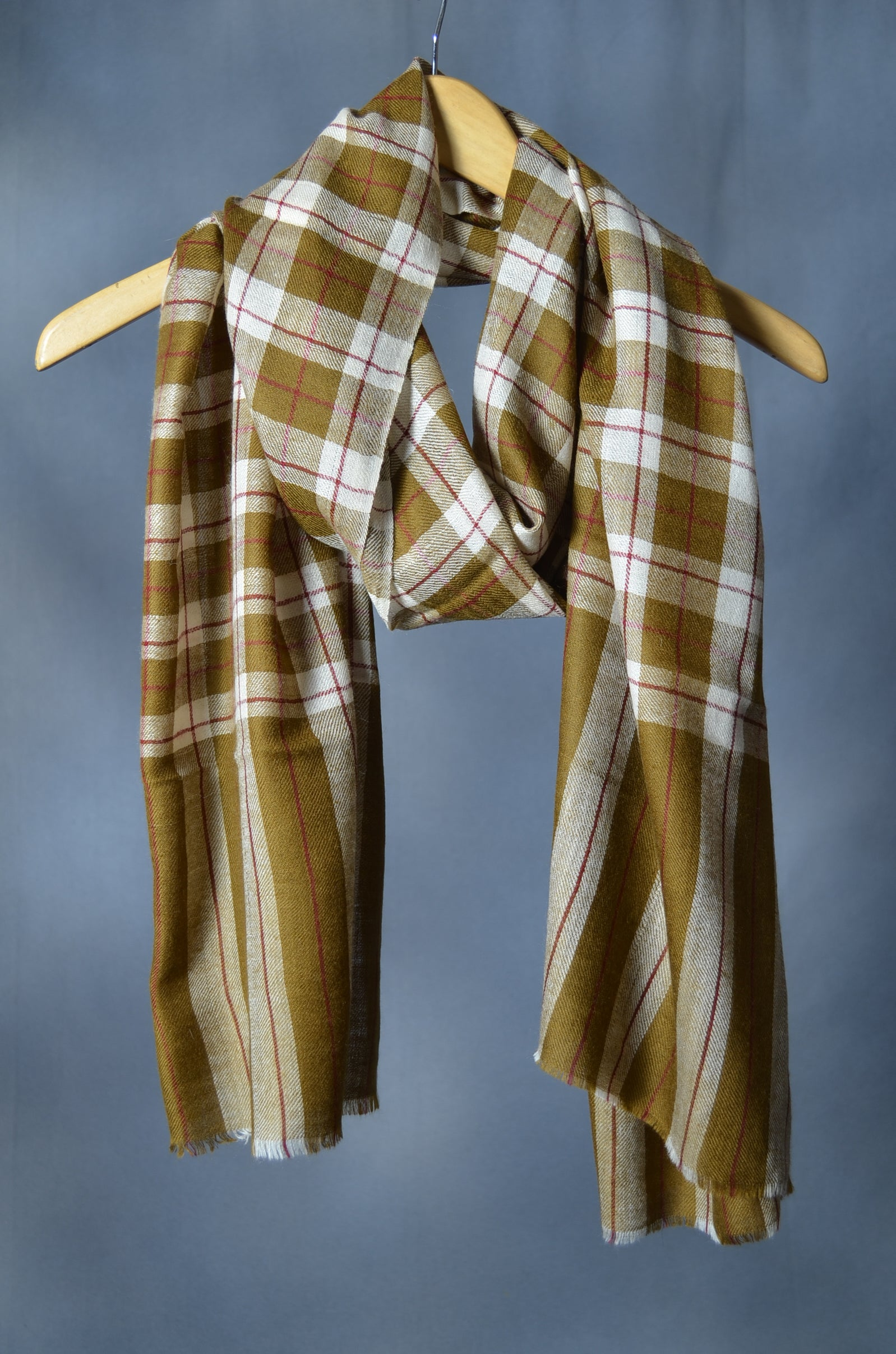 Brown Check Handwoven Cashmere Pashmina Scarf