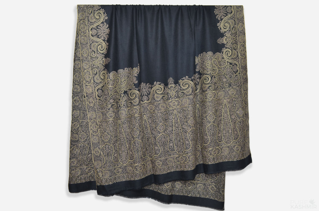 Oversized 2.5 Yard Black Pashmina Shawl