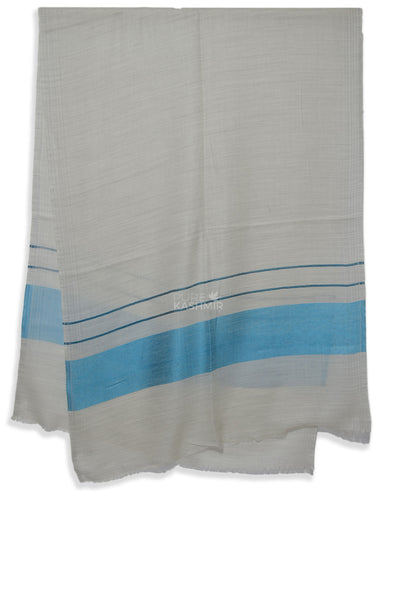 un dyed natural and blue merino scarf | made in kashmir