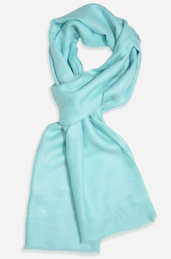 "Beautifully light and scrumptiously soft ""Arctic Blue"" Cashmere Scarf is hand woven from the highest grade of 100% pure Cashmere from Kashmir."