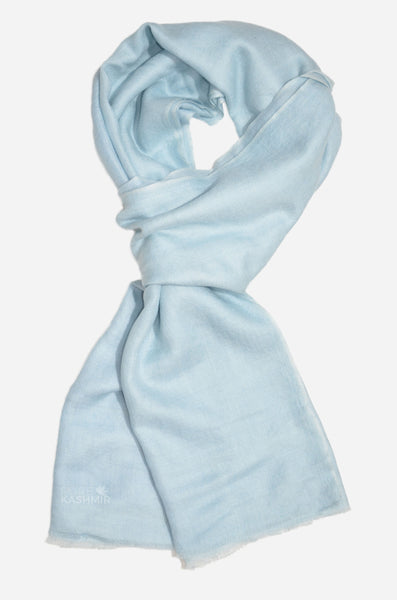"Beautifully light and scrumptiously soft ""Baby Blue"" Cashmere Scarf is hand woven from the highest grade of 100% pure Cashmere from Kashmir."
