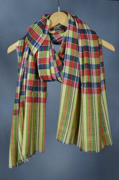Lime, Blue & Red Check Handwoven Cashmere Pashmina Shawl