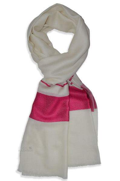 Ivory Two Side Striped Pink Border Merino Scarf