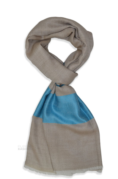 Natural Two Side Striped Blue Border Merino Scarf