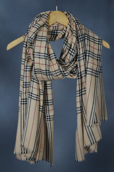 Burberry Check Handwoven Cashmere Pashmina Shawl/Scarf
