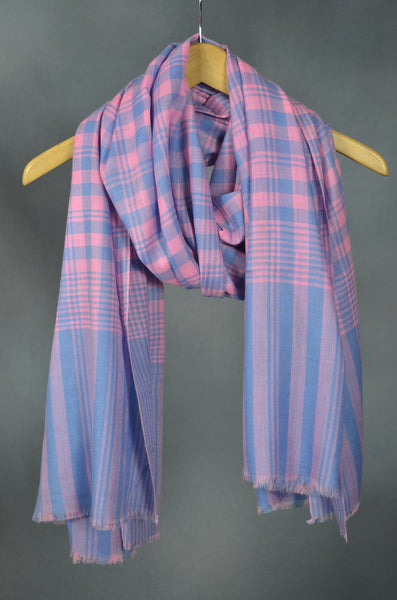 Pink and Blue Handwoven Cashmere Pashmina Shawl