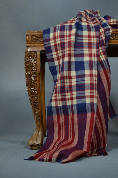 Blue & Red Check Handwoven Cashmere Pashmina Shawl