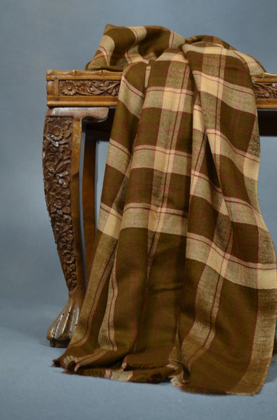 Brown Check Handwoven Cashmere Pashmina Shawl