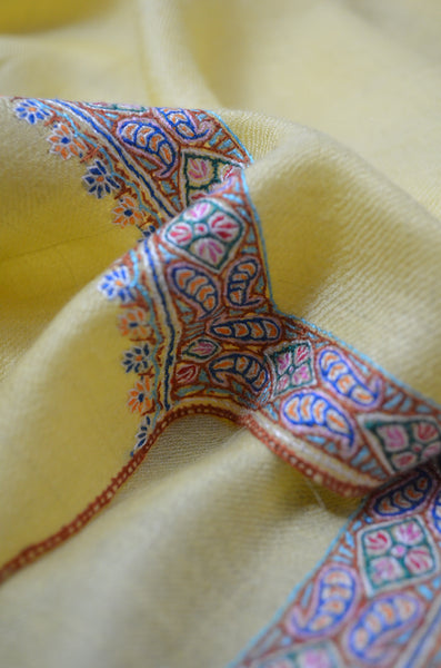 Yellow Border Embroidery Cashmere Pashmina Shawl