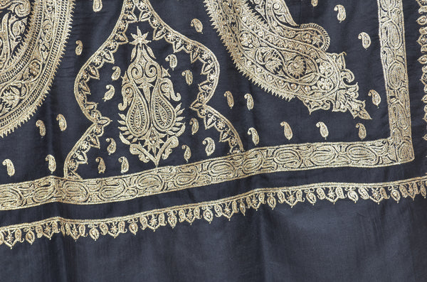 Black Base Gold Tilla Work Pashmina Shawl