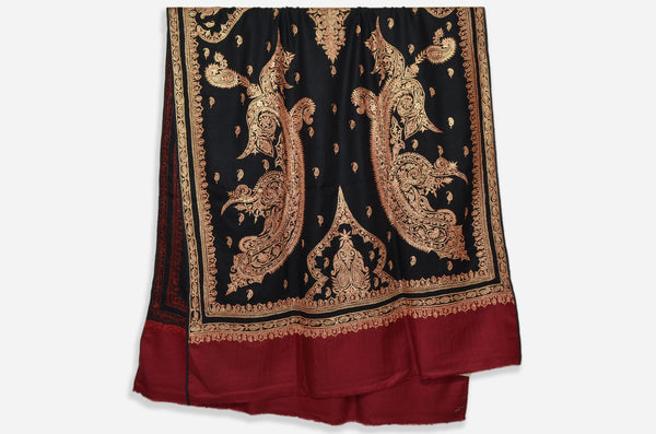 Black and Maroon Base Gold Tilla Work Pashmina Shawl