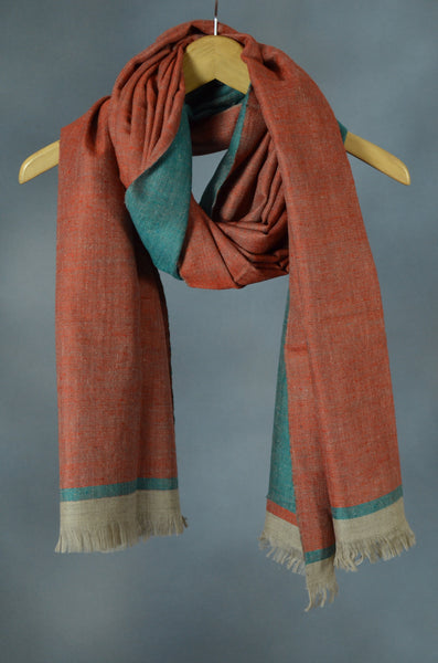 Reversible Rust and Green Handwoven Cashmere Pashmina Shawl