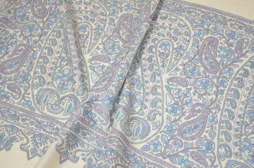 Ivory Cashmere Pashmina Shawl with Stunningly Pretty Border