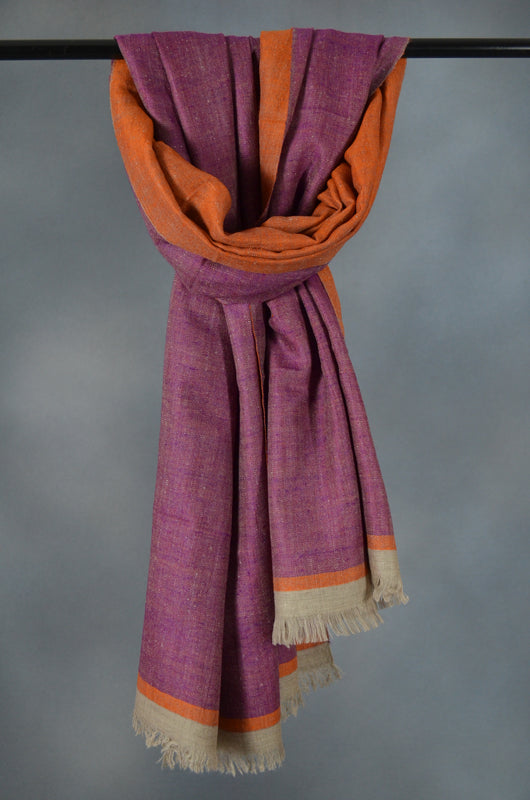 Reversible Orange and Mulberry Handwoven Cashmere Pashmina Shawl