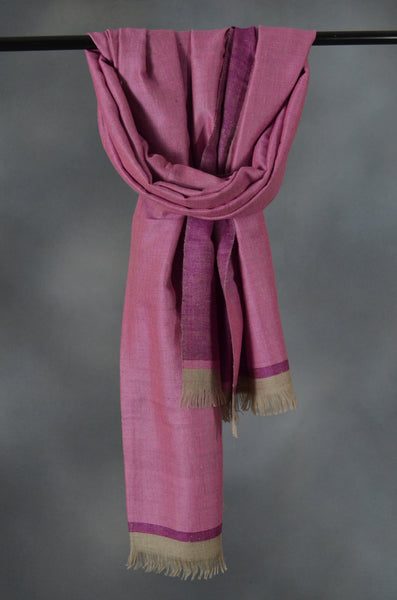 Reversible Mulberry and Pink Handwoven Cashmere Pashmina Shawl