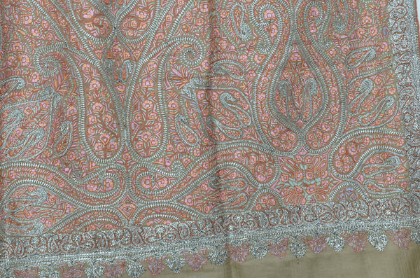 Natural Base Silver and Red Tilla Work Pashmina Shawl