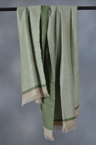 Reversible Emerald and Grey Handwoven Cashmere Pashmina Shawl