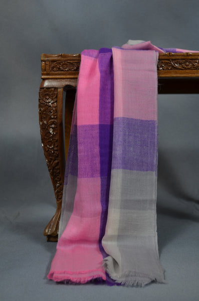 Blue & Pink Check Handwoven Cashmere Pashmina Scarf