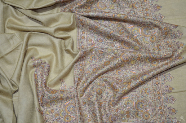 Brown Cashmere Pashmina Shawl with Stunningly Pretty Border