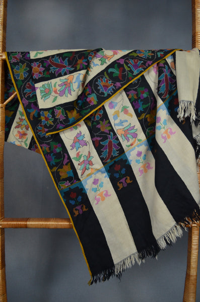 Black & White Striped Kani Jamawar Pashmina Shawl