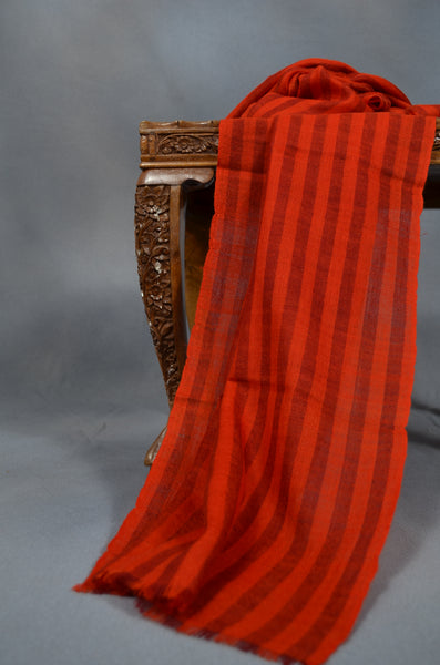 Red Striped Handwoven Cashmere Pashmina Scarf