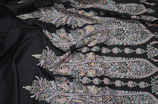 Black Cashmere Pashmina Shawl with Stunningly Pretty Border