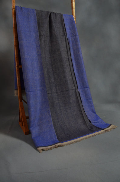 Reversible Dark Navy and Blue Handwoven Cashmere Pashmina Shawl