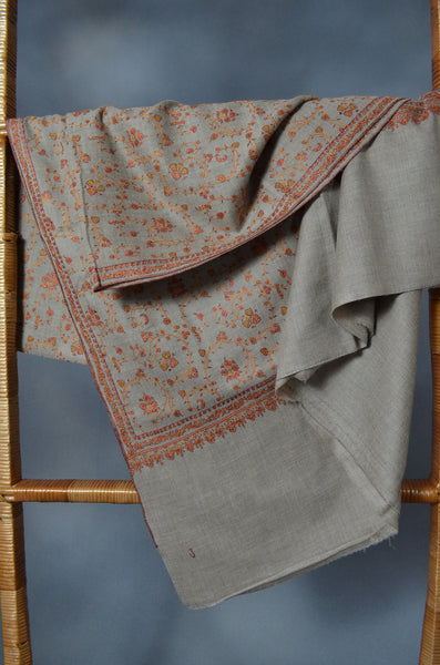 Un Dyed Natural Jali Embroidery Pashmina Cashmere Shawl