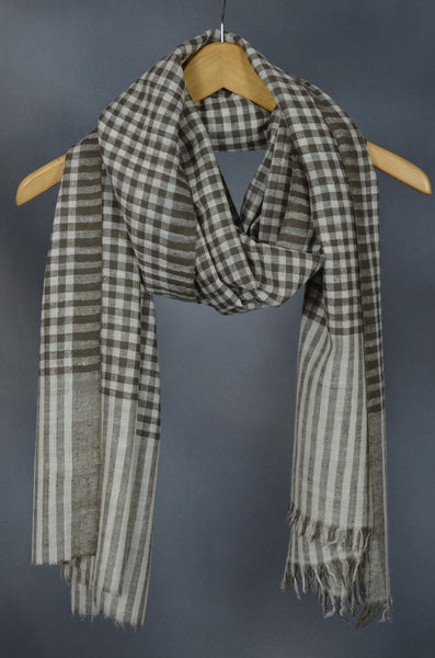 Ivory & Natural Small Check Handwoven Cashmere Pashmina Scarf