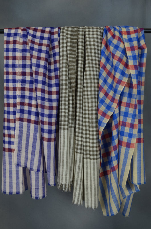 Small Check Red, Ivory and Blue Handwoven Cashmere Pashmina Scarf