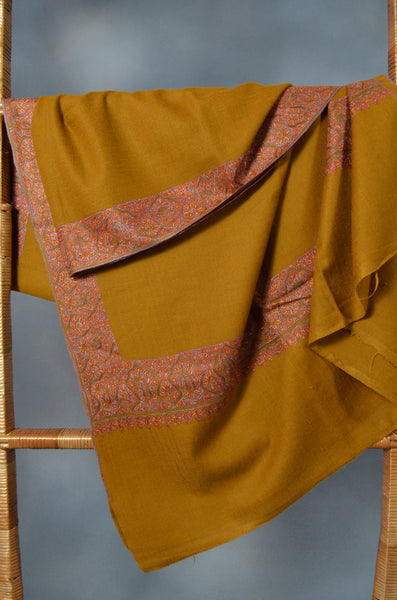 Orange Border Embroidery Cashmere Pashmina Shawl