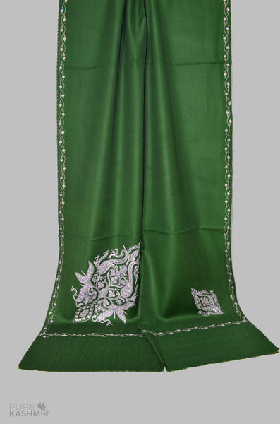 Bottle Green Cone Motif Merino Sozni Hand Embroidery Scarf