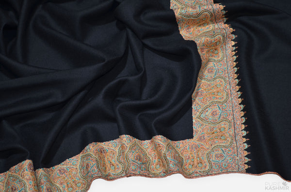 Black Cashmere Pashmina Shawl with Intricate Big Border