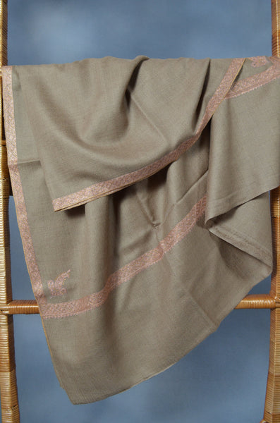 Un Dyed Natural Border Embroidery Cashmere Pashmina Shawl
