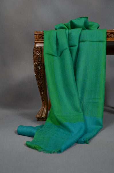 Bright Green and Turquoise Handwoven Cashmere Pashmina Scarf