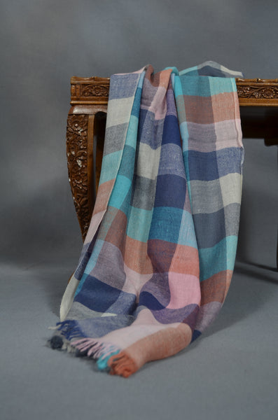 Multi Color Big Check Handwoven Cashmere Pashmina Scarf