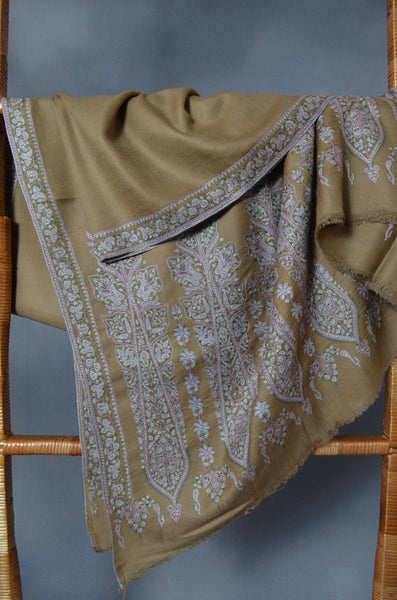 Olive Big Border Embroidery Cashmere Pashmina Shawl