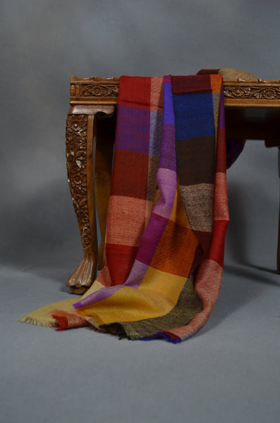 Big Check Multi Color Handwoven Cashmere Pashmina Scarf