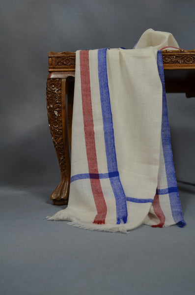 Blue and Red Border Handwoven Cashmere Pashmina Scarf