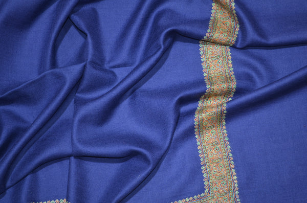 Blue Pashmina Shawl with Beautifully Crafted Border