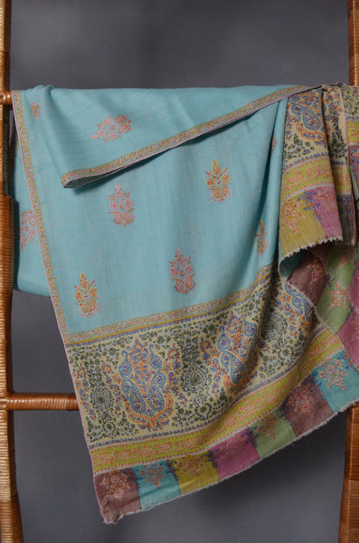 Sea Green Big Border & Motif Embroidery Cashmere Pashmina Shawl